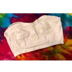 White jean crop top